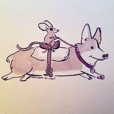 Mouse Riding a Corgi Sketch by Meridth Gimbel