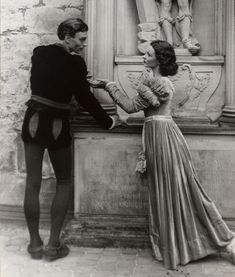 "Laurence Olivier and Vivien Leigh in the Old Vic production of ""Hamlet""; Kronborg Castle, Elsinore, Denmark. 1937"