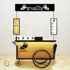 Throwing a summertime wedding? Ice cream is the way to go for your wedding cake alternative. This dessert is sure to make your guests happy and will add a trendy flare to your big night! Food Stall Design, Food Cart Design, Food Truck Design, Cafe Shop Design, Kiosk Design, Booth Design, Coffee Carts, Coffee Truck, Thai Cafe