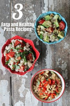 3 Healthy Pasta Salad Recipes //  Garden Pasta Salad, Italian Pasta Salad and Asian Sesame Pasta Salad. A little something for everyone!