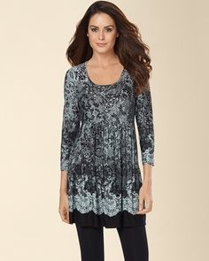 LOVE THIS and I WANT THIS!   Soma Intimates Soft Jersey Empire Waist 3/4 Sleeve Tunic Loving Lace Ether #somaintimates