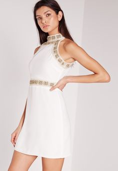 Missguided - Premium Floral Beaded High Neck Mini Dress White