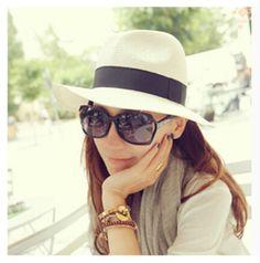 Fashion white fedora hat for women straw panama hat summer wear