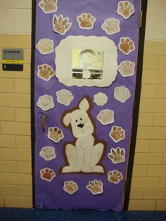 """I did this for red ribbon week. A poster next to it read, """"Paws and think. Doing drugs stinks!"""" Each paw on the door was colored by a student and it had his or her name on it."""