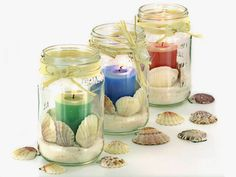 Super Easy Beach Candle Centrepiece