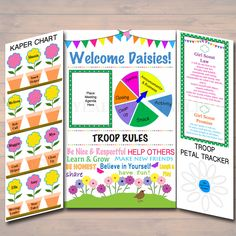 Daisy Kaper Chart & Girl Scouts Meeting Display Board INSTANT + EDITABLE Daisy Girl Scouts, Troop Leader Forms, Daisy Girl Scout Meetings by TidyLadyPrintables on Etsy https://www.etsy.com/listing/483401207/daisy-kaper-chart-girl-scouts-meeting