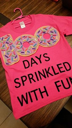 , 100 days of school! Felt donuts with 100 pipe cleaner sprinkles! (Don't use supe. , 100 days of school! Felt donuts with 100 pipe cleaner sprinkles! (Don't use super glue, as it dries white) 100 days sprinkled with fun! Iron on letter. 100th Day Of School Crafts, 100 Day Of School Project, First Day Of School, School Fun, School Days, School Projects, 100 Day School Shirt, 100 Day Project Ideas, School Stuff