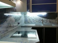 Splashback Toughened Glass  Modern Unique Kitchen Palm Tree Sun Sea Any Sizes