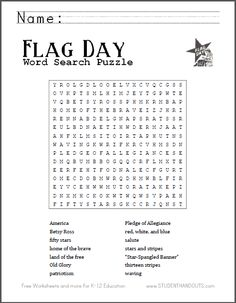 Flag Day Word Search Puzzle | Free to print. Grades 2-12. Flag Day is June 14!