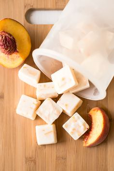 Looking for an easy, healthy snack? Try these three ingredient frozen yogurt bites made with honey and diced peaches.