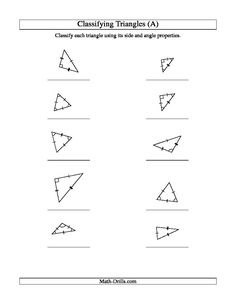 Worksheets Classifying Triangles Worksheet worksheets for classifying triangles by sides angles or both angle and side properties a