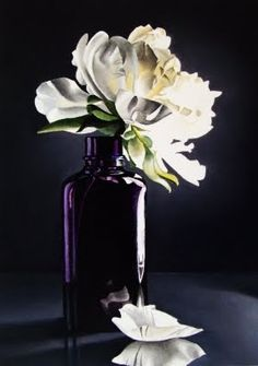 Still Life with Peony in Purple Bottle - Oil -- Jacqueline Gnott