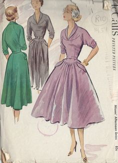 "1951 Vintage Sewing Pattern B34"" DRESS (R10)"