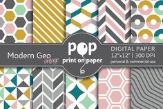 Modern Geo Vintage Digital Paper by POP print on paper on @creativemarket