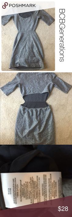BCBGEnerations NYE metallic open back dress xxs Good condition but small threading flaw pictured in photo #4 which is likely only noticeable to you. Price reflects this flaw but in otherwise great condition. Lined skirt. Perfect for New Years! 🎉 BCBGeneration Dresses