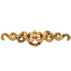 Victorian Brooch Engraved Scroll | From a unique collection of vintage brooches at https://www.1stdibs.com/jewelry/brooches/brooches/
