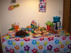 Luau Party Spread Hotel Style