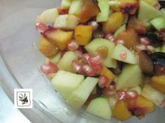 Fresh fuit salad with pomegranate fruit from our garden. #breakfast, #fresh_fruits #autumn