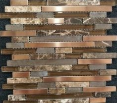 copper tiles as kitchen backsplash | new venetian gold granite