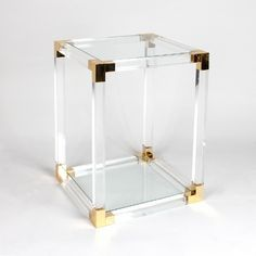 Great Lucite, Brass And Glass Side Table By Birgit Israel
