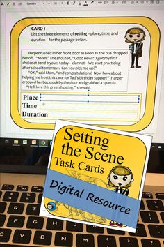 Setting Task Cards Digital Resource for Google Slides – 30 cards for practicing the story element of setting. Students use close reading and look for text based evidence to determine details of a story's setting. A good variety of activities makes these cards appealing to students in middle school and upper elementary reading and language arts classes. Close Reading Activities, Reading Resources, Guided Reading, Teaching Reading, Reading Comprehension Skills, Reading Skills, Text Based Evidence, School Tomorrow, Story Elements