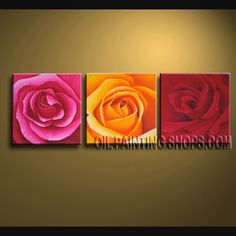 Amazing Wall Decorating Ideas Hand Painted Oil Painting Stretched Ready To Hang Rose Flower. This 3 panels canvas wall art is hand painted by Bo Yi Art Studio, instock - $108. To see more, visit OilPaintingShops.com