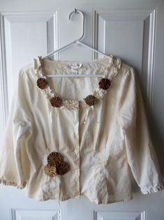 Shabby Chic Edwardian Inspired Upcycled Tea Tie Dyed Peasant Blouse with Yoyo Doily Embellishments--size 12 on Etsy, $32.00