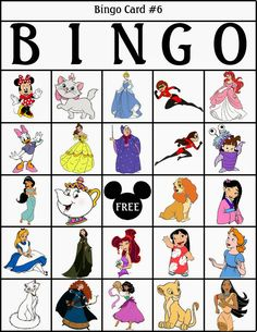 Hide photos of the characters around the room for kids to check off on their bingo card. Disney Games For Kids, Bingo For Kids, Disney Activities, Disney Crafts For Kids, Disney Day, Disney Theme, Disney Love, Disney Magic, Disney Souvenirs