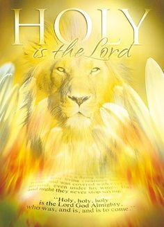 Lion of Judah in golden light. Holy is the Lord. Prophetic art painting with angel wings. Christian Posters, Christian Art, Christian Quotes, Tb Joshua, Tribe Of Judah, Prophetic Art, Lion Of Judah, Jesus Is Lord, King Of Kings