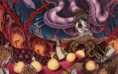 Mythical Scenes Illustrated in Gouache by Seung-Hee Lee Korean Illustration, Illustration Art, Book Illustrations, Female Reference, Creative Artwork, Personalized Books, Medusa, Mythical Creatures, Gouache