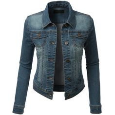 RubyK Womens Classic Cropped Long Sleeve Denim Jean Jacket with... ($25) ❤ liked on Polyvore featuring outerwear, jackets, cropped jacket, long sleeve crop jacket, pocket jacket, blue cropped jacket and blue jackets