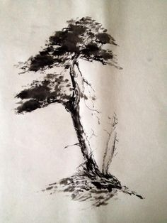 Pino - Sumi-e Japanese Ink Painting, Sumi E Painting, Japanese Drawings, Chinese Painting, Familie Symbol, Japanese Bonsai Tree, Tinta China, Chinese Landscape, Art Japonais