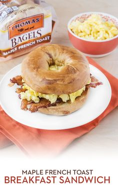 French Toast Breakfast Sandwich: Add a subtle touch of sweetness to a classic breakfast sandwich with a Thomas' Maple French Toast Bagel. Just toast it and top with cheesy scrambled eggs and crispy thick-cut bacon. Now that's a Breakfast Like No Other!