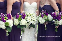 Bridal party in indigo dresses and gorgeous purple & white bouquets - Beautiful wedding at Vesuvius Vineyards (photo by Taylor Helms Photography)