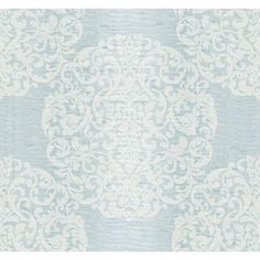 Ronald Redding Designer Damask Silver Sheen and Blue Marquette Wallpaper