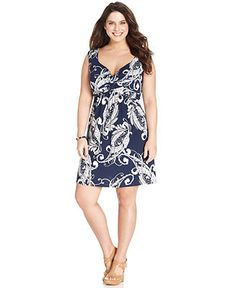 Style&co. Plus Size Sleeveless Printed A-Line Dress - Plus Size Dresses - Plus Sizes - Macy's