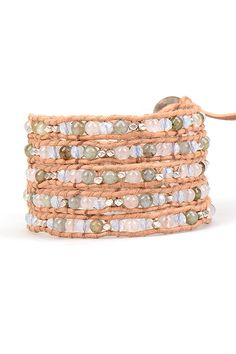 Silver Rose Quartz and Labradorite Wrap Bracelet on Natural Leather | Talulah Lee