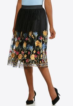 82e94c0dd3 Mesh Floral Embroidered Skirt Below The Knee Cato Fashions