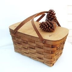 SOLD - Vintage Large Wooden Picnic Basket Woven Wood Basketville Storage Organizer Wedding Cards by WhimzyThyme on Etsy #country #picnic #basket #rusticelegance #whimzythymevintage #home