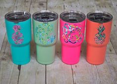 Items similar to SIC Powder Coated Cup Tumbler 30 ounce GLACIER with Patterned Monogram! on Etsy