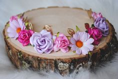JULIET FLOWER CROWN, flower crown, gold flower crown, pink flower crown, flower girl, flower child, elastic flower crown