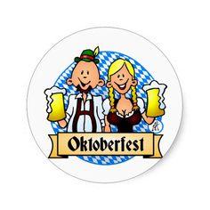 Oktoberfest Round Sticker. #Zazzle #Cardvibes #Tekenaartje #SOLD