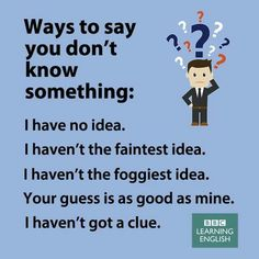 Ways to say you don´t know something English Vinglish, English Writing, English Study, English Grammar, Advanced English Vocabulary, English Vocabulary Words, Learn English Words, Grammar And Vocabulary, English Lessons