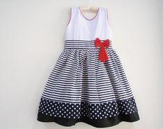 Vestido Infantil-Branco e Preto