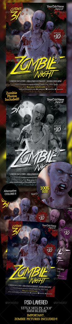 Zombie Night Flyer Vol 2 Horror party, Party flyer and Flyer - zombie flyer template