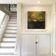 """stair info: The risers are farrow and ball """"slipper satin"""" and the treads are bleached white oak with a lime wash, to match the rest of our floors. Stair Risers, Banisters, Painting Wooden Stairs, Banister Remodel, Staircase Makeover, Modern Staircase, White Paints, Interior Design Inspiration, Traditional"""