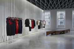 As well as her ready to wear Victoria Beckham collection and handbags, which cost up to each, her income comes from denim and eye makeup. Pictured: An inside view of her VB store on Dover Street, London Victoria Beckham Store, Victoria Beckham News, Shop Interior Design, Retail Design, Store Design, London Shopping, Shop House Plans, Retail Interior, Retail Space