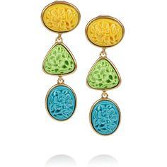 Oscar de la Renta 24-karat gold-plated carved cabochon clip earrings ($290) ❤ liked on Polyvore