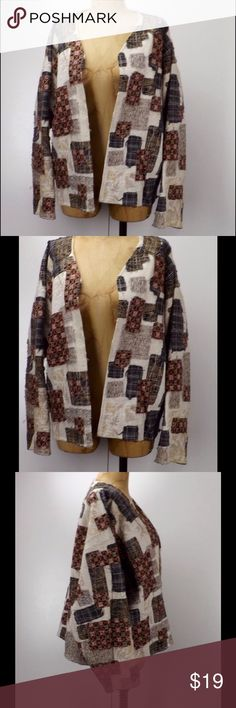 vintage 80s women's L / XL open patchwork jacket good vintage condition, no noticed issues open front cotton blend. handmade Jackets & Coats