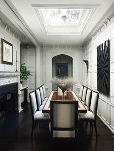 Elegant Regents Park dining room with elaborate molding Dining Georgian Contemporary by Hubert Zandberg Interiors